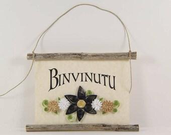 Binvinutu, Sicilian Welcome, Paper Quilled Sicilian Welcome Sign, 3D Paper Quilled Banner, Blue White Tan Decor, Sicily Gift, Sicily Decor