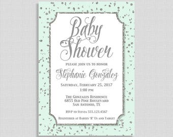 Mint Green and Silver Baby Shower Invitation, Silver Glitter Confetti Baby Shower Invite, Gender Neutral, DIY PRINTABLE