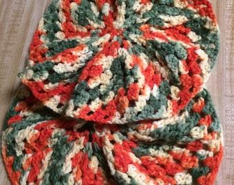 Vintage Crochet Pillow Tops Doilies Boho Bohemian Hip 1970's Orange Green Creme