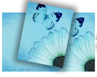 Digital Download - Sweet Daisies Blue Tones - Note Card Printable Stationery