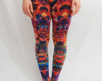 Size XS Tie Dye  leggings  Psychedelic Pants Hippie Indigo Pants Yoga  length 87 cm