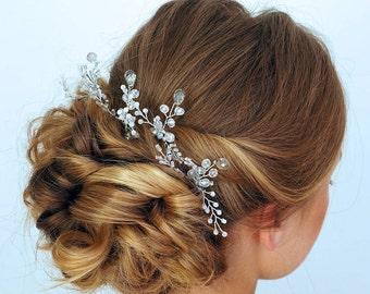 Bridal hair pins -Wedding hair pins - Pearl hair pins -Silver Crystal hair pins - Hair pins bridal - Gold bridal hair pins -Hair pin wedding