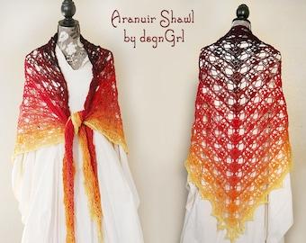 Crocheted Aranuir Shawl - Great Gift - Ladies Shawl - Woman's Fashion - Lacy Shawl - Wedding Shawl - Fire - Fantasy Cosplay - Fancy Wrap