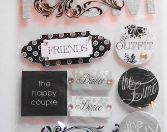 PROM, FRIENDS, The DANCE, Limo, Soft Spoken, Dimensional Stickers, Scrapbooking, Cards,Crafts, Collage, Stationary, Arts and Crafts (SP15)