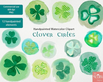 Watercolor clipart St Patricks, Commercial use PNG Day Irish Clip Art Handpainted watercolor clipart LittleAcornGraphics cardmaking poster