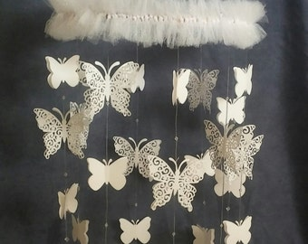 Innocent White Butterfly Mobile