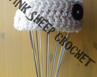 Funky Cream Big Button Hat *** READY TO POST *** Adult Size
