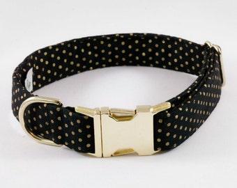 Black and Gold Polka Dot Dog Collar, Holiday Dog Collar, Preppy Dog Collar, New Year's Eve, Christmas, Holiday