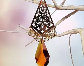 Sun Catcher, Christmas Ornament, Gold Filigree, Topaz Crystal, 1S-31