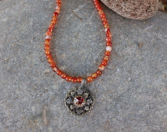 Antique carnelian necklace