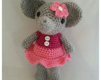 Hand Made Crochet Elephant Plushie Doll