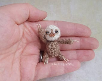 Miniature sloth, baby sloth, sloth, sloth lover, two toed sloth, sloth gift, sloth life, mini sloth, bjd pet, sloth plush, vegan friendly.