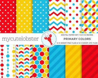 Primary Colors Digital Paper Set - patterned paper, red, yellow, blue, chevron, polka - personal use, small commercial use, instant download