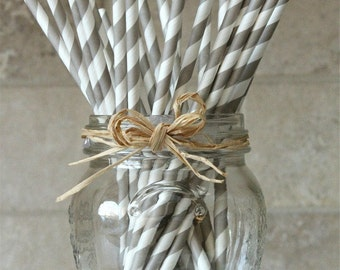 25 Light Gray and White Striped Paper Party Straws