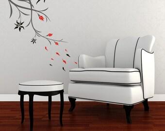 Vinyl Decal Branch Flowers Leaves Wall Art Mural No. 9