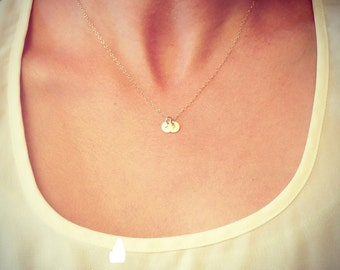 """SALE - Two Tiny Customized Initial 1/4"""" Disc Necklace in gold - Little Dainty Disc - Personalized - Bridal Gift - thelovelyraindrop"""