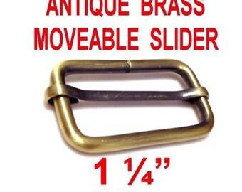 """10 PIECES - 1 1/4"""" - Strap Adjuster Slider, 1 1/4 inch, 32mm, Antique Brass Finish, Moveable Bar Slide, 1.25"""