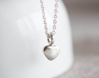 Heart charm necklace, personalized with initial at the back, sterling silver necklace, delicate heart necklace