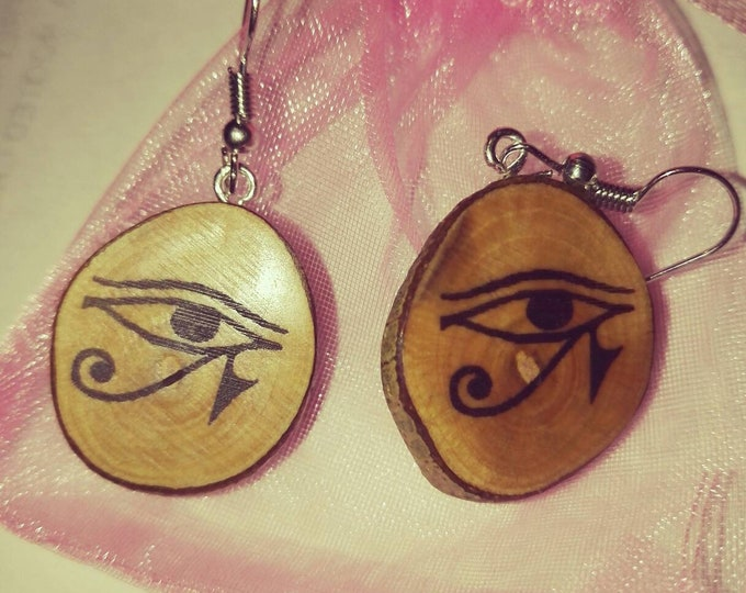 Eye of Horus All Seeing Eye Necklace / Earrings Wooden Charm Brown  Eco Friendly Handmade Personalised Charms Wood Hand made Jewellery #Etsy
