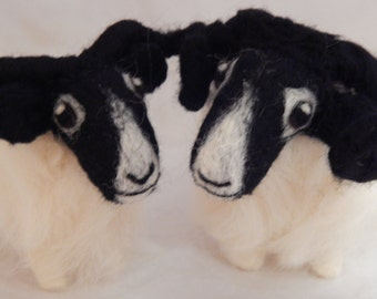 TWO Custom Sheep  - needle felted sheep soft sculpture -  small size - Example Highland Blackfaced Rams