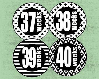 Weekly Belly Stickers, Milestone Stickers, Pregnancy Stickers, Baby Belly Stickers, Pregnancy Reveal, Tribal Arrow