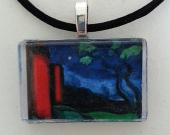 "Blue Sky Tree Red ART Painting  Glass Neckace 18"" -20"" ribbon cabochon"