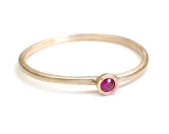 Ruby Ring, Stacking Ring, Ruby Stacking Ring, Ruby and Gold Ring, Gold Ruby Stacking Ring, Delicate Ruby Ring, Ruby Band, Nixin