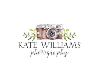 Photography Logo and watermark, Premade Logo Design, Watercolor camera Logo  214