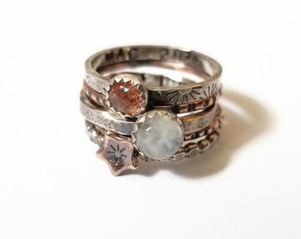 SUNstone ring MOONstone ring, Copper STAR, Mixed Metal Stack Ring, Rustic Ring, Handstamp, Initial, Personalized Ring,graduation gift