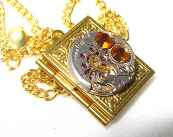 Steampunk Jewelry Book Locket Gold plated Necklace vintage watch movement Citrine Swarovski crystals Reader gift for women  for Her Cosplay