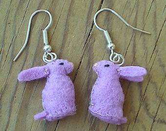Easter Bunny Earrings - Easter bunny earrings - Easter earrings - cute bunny earrings - lavender earrings - felt rabbit earrings