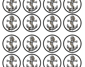 Navy Anchor Edible Wafer Rice Paper Cake Cupcake Toppers x 24 PRECUT