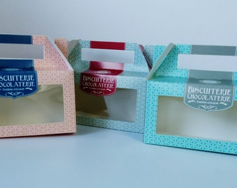 set of 3 box cookie chocolate cardstock with clear window to see inside chocolate biscuit