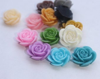 ROSE Cabochons - Assorted Lot of 24 Open Roses - 20mm - CHOOSE your Colors