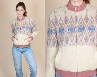 80s Icewool Zip Up Cardigan Sweater - Small // Vintage Icelandic Fair Isle Wool Jacket