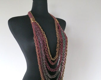 Burgundy Maroon Teal Dark Taupe Brown Color Long Crocheted Chains Necklace Lariat Bib with Metal Glass Beads Brooches