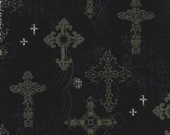 Fat Quarter Ornate Crosses Gothic Design Cotton Quilting Fabric - 50cm x 55cm