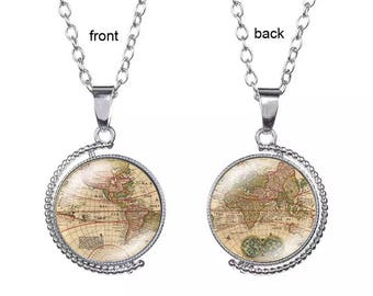 """Earth World Map Tellurion Ocean Rotatable glass dome Double Side Pendant with 18"""" Necklace"""