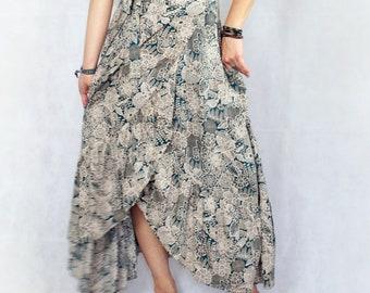 Hippie Skirt, Floral, Summer Skirt, Gypsy Skirt, Wrap Skirt, festival skirt, Maxi Skirt, Boho Skirt, Asymmetrical Skirt, Bohemian Skirt