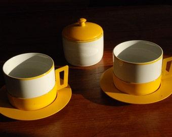 Mid Century Yellow  Monopoli 2 cups & 2 saucers plus sugar bowl