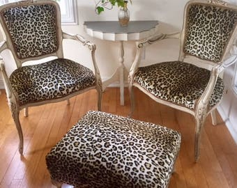 SOLD French Leopard Print vintage chairs and ottoman