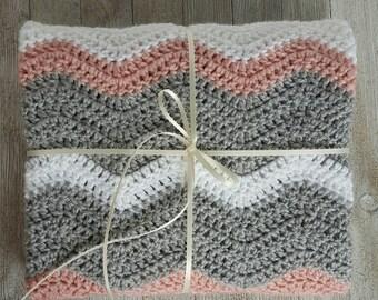 Chevron Baby Blanket - Crochet Blanket - Crochet Baby Blanket - Baby Blanket - Girl Pink White Grey - Boy Blue White Grey