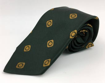 Vintage 1960s Skinny Green Tie with Gold Neats