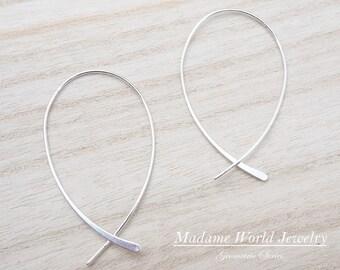 Sterling Silver Wishbone Hoop Earrings *NEW*