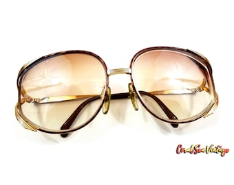 Christian Dior Frames True Vintage 2387 Tortoise Shell Sunglasses Butterfly Glasses Gold Metal Frames OS