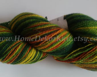 282g Hand Dyed Wool Yarn Gradient Rustic Wool Knitting Yarn Kauni Wool Artistic Shawl Yarn Green Brown Yellow Effektgarn Sock 2ply