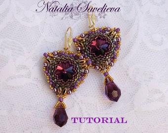 Beading Tutorial, Amethyst Earrings, Jewelry Tutorial, Bead Pattern PDF, Instant Download.
