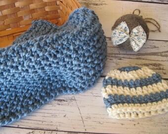 Baby Photo Prop medium blue with hat and headband Layering Blanket Basket Stuffer Fluff Knit Crohet Newborn Infant