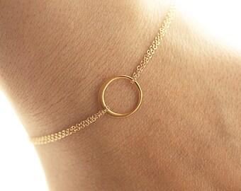 Gold Eternity Bracelet, Dainty Bracelet, Friendship Bracelet, Bridesmaids Bracelet, Simple Everyday Circle Bracelet