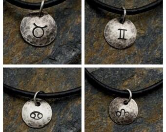 Taurus Gemini Cancer Leo - Hammered Sterling Zodiac Pendant on Black Leather Necklace